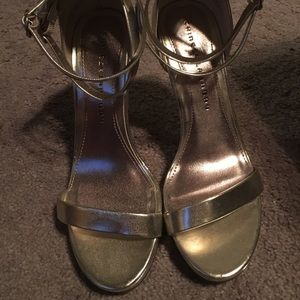 Gold Strappy Heeled Sandals, Size 8